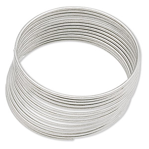 memory wire, stainless steel, 3/4 inch ring, 0.65-0.75mm thick. sold per pkg of 12 loops.