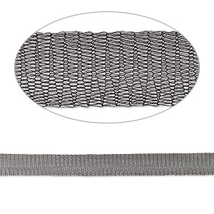 mesh ribbon, enameled brass, black, 12mm tubular, fits up to 18mm bead. sold per 1-meter pkg.