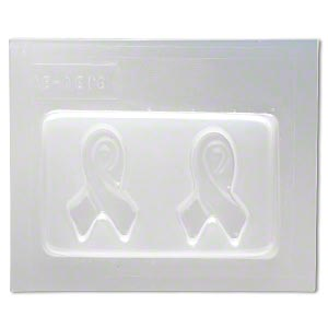 mold, deep flex™, plastic, (2) 39x23mm awareness ribbons. sold individually.