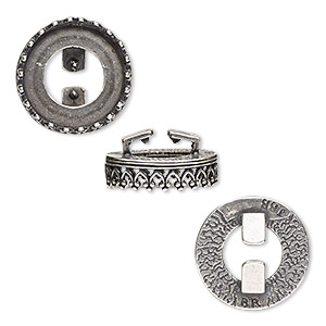 mount, almost instant jewelry and jbb findings, antique silver-plated brass, 15.5mm round with open back and decorative trim with 14mm rivoli setting, 8x1.5mm inside diameter. sold individually.