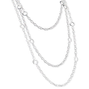 multi-strand necklace, sterling silver, soldered link chain with 14mm open round links, 42 inches with lobster claw clasp. sold individually.