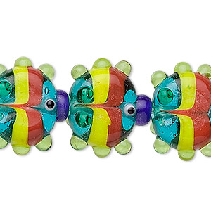 multicolored glass fish beads, fancy, large, approx. 17mm. sold per pkg of 6.