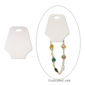 necklace / bracelet card, adhesive and card stock, cream, 2-1/2 x 2 inches assembled. sold per pkg of 10.