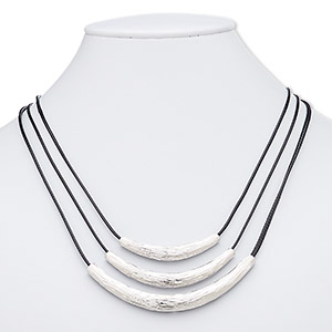 necklace, 3-strand, waxed cotton cord with imitation rhodium-plated brass and pewter (zinc-based alloy), black, 2 x 1/4 to 3-1/4 x 1/4 inch graduated curved tube, 16 inches with 3-inch extender chain and lobster claw clasp. sold individually.