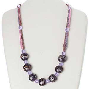 necklace, 6-strand, glass / lampworked glass / gold-finished brass / steel, blue / pink / purple with copper-colored foil, 21 inches with hook-and-eye clasp. sold individually.
