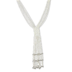 necklace, 6-strand, glass and acrylic, white, (12) 8-inch dangles, 28-inch continuous loop. sold individually.
