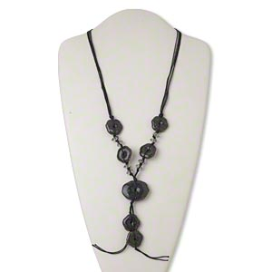 necklace, acrylic / waxed cotton cord / silver-finished steel, black and grey, 5-inch dangle with 24x24mm flower and 38x30mm puffed oval, 28 inches with lobster claw clasp and 2-inch extender chain. sold individually.