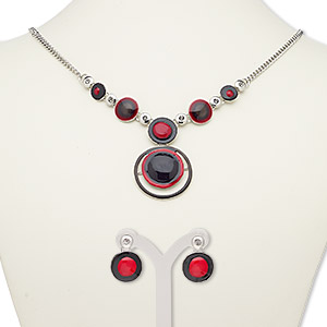 necklace and earring, enamel / glass rhinestone / silver-plated steel / pewter (zinc-based alloy), black / red / grey, 29mm round, 18-inch necklace with 2-inch extender chain and lobster claw clasp, 19mm earrings with post. sold per set.