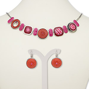 necklace and earring, enamel / glass rhinestone / silver-plated steel / pewter (zinc-based alloy), pink / red / white, round and square, 18-inch necklace with 2-inch extender chain and lobster claw clasp, 27mm earrings with leverback earwire. sold per set.