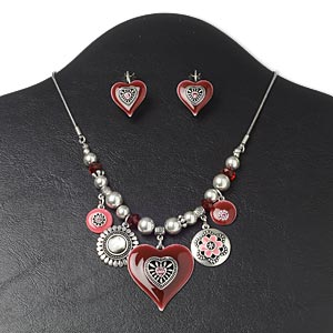 necklace and earring, glass / black lip shell (natural) / enamel / antique silver-plated pewter (zinc-based alloy) and steel, pink and red, heart,16 inches with 3-inch extender chain and lobster claw clasp, 1-1/8 inch earrings with leverback earwire. sold per set.