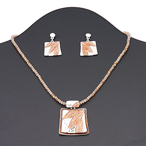 necklace and earring, glass / enamel / silver-finished brass / steel / pewter (zinc-based alloy), champagne ab / brown / rust, 35x32mm rectangle with leaf design, 16 inches with 3-inch extender chain and lobster claw clasp, 32mm with leaf design and post. sold per set.