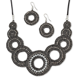 necklace and earring, glass / velveteen / waxed cotton cord / silver-plated steel, gunmetal / grey / black, 4-3/4 inches with circle design, adjustable up to 26 inches with macrame knot closure, 1-1/4 inch earrings with fishhook earwire. sold per set.