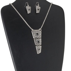 necklace and earring, glass rhinestone / steel / antiqued silver-finished pewter (zinc-based alloy), black, triple trapezoid, 24 inches with 2-inch extender chain and lobster claw clasp, 2 inches with fishhook earwire. sold per set.