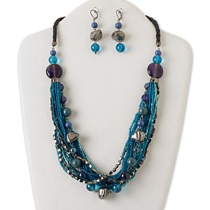 necklace and earring, multi-strand, acrylic / glass / leather / gunmetal-finished steel / aluminum / brass, blue and purple, 24 inches with 2-inch extender chain and lobster claw clasp, 2-1/4 inch earrings with leverback earwire. sold per set.