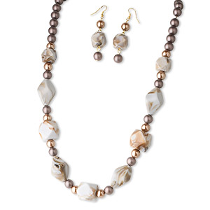 necklace and earring set, glass and acrylic, brown, gold and copper, 14x14mm and 20x20mm faceted cube, 30x17mm twisted oval, 10mm round, 24 inches with steel 3-inch extender chain. sold per set.