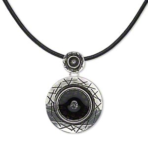 necklace, antique silver-plated pewter (zinc-based alloy) and steel / leather / epoxy / crystal rhinestones, black and crystal clear, 40mm round with smooth leather cord, 18 inches with lobster claw clasp with 3-inch extender chain. sold individually.
