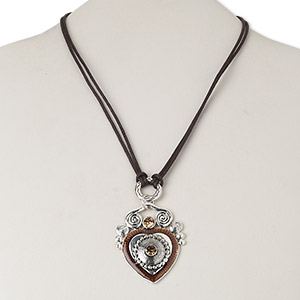 necklace, antique silver-plated pewter (zinc-based alloy) and steel and/or brass / epoxy / waxed cotton cord / czech glass rhinestone, brown and topaz, 51x41mm single-sided heart, 16 inches with lobster claw clasp and 3-1/2 inch extender chain. sold individually.