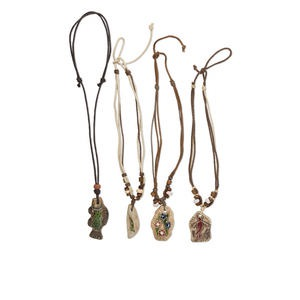necklace, antiqued ceramic, wood and waxed cotton cord, multicolored, 44.5x31mm-61.5x28.5mm assorted single-sided pendants, 14-22 inch adjustable. sold per pkg of 4.