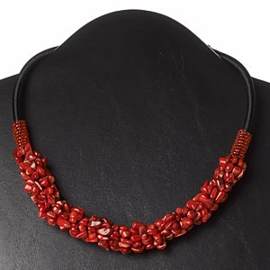 necklace, bamboo coral (dyed) / nylon cord / plastic / glass, black and red, 16-1/2 inches with 3-inch loop extender and button clasp. sold individually.