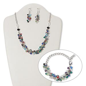 necklace, bracelet and earring, glass with silver-plated steel and brass, multicolored, rondelle, 21 inches with 2-inch extender chain and lobster claw clasp, 7-inch bracelet, 2-1/4 inch earrings with fishhook earwire. sold per set.
