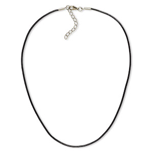 necklace cord, leather and imitation rhodium-plated brass and steel, black, 2mm round, 16 inches with 2-inch extender chain and lobster claw clasp. sold per pkg of 6.