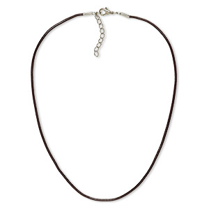 necklace cord, leather and imitation rhodium-plated brass and steel, brown, 2mm round, 24 inches with 2-inch extender chain and lobster claw clasp. sold per pkg of 6.