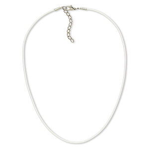 4196f85b7 Necklace cord, leather and imitation rhodium-plated brass and steel, white,  2mm round, 18 inches with 2-inch extender chain and lobster claw clasp.