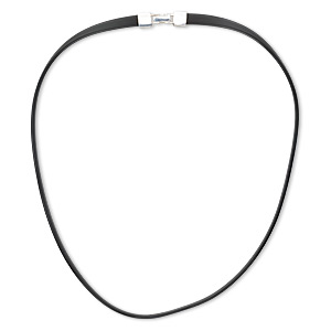 necklace cord, rubber and sterling silver, black, 7mm flat, 20 inches with fold-over clasp. sold individually.