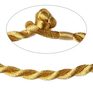 necklace cord, satin-finished nylon, antique gold, 5mm smooth twist, 16 inches with knot closure. sold per pkg of 2.