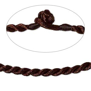 necklace cord, satin-finished nylon, brown, 3mm smooth twist, 16 inches with knot closure. sold per pkg of 2.