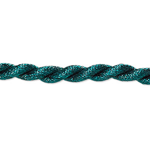 necklace cord, satin-finished nylon, green, 5mm smooth twist, 20 inches with knot closure. sold per pkg of 2.