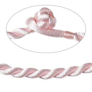 necklace cord, satin-finished nylon, pink, 5mm smooth twist, 20 inches with knot closure. sold per pkg of 2.
