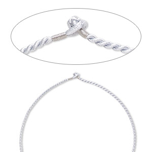 necklace cord, satin-finished nylon, silver, 2.3mm-2.6mm smooth twisted, 16 inches with knot closure. sold per pkg of 2.