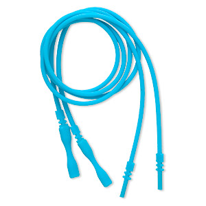 necklace cord, silicone, opaque turquoise blue, 2-2.2mm wide, 16 inches with snap closure. sold per pkg of 4.