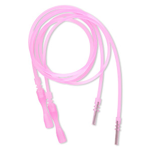 necklace cord, silicone, translucent pink, 2-2.2mm wide, 16 inches with snap closure. sold per pkg of 4.