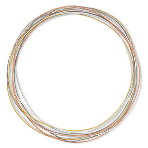 necklace cord, steel, metallic tones, 1.3mm coil, 18 inches with twist-in ends. sold per pkg of 10.
