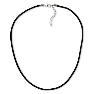 necklace cord, velveteen with imitation rhodium-finished steel and pewter (zinc-based alloy), black, 3mm wide, 16 inches with 1-1/2 inch extender chain and lobster claw clasp. sold per pkg of 3.