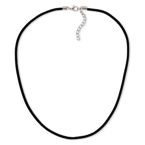 necklace cord, velveteen with imitation rhodium-finished steel and pewter (zinc-based alloy), black, 3mm wide, 18 inches with 1-1/2 inch extender chain and lobster claw clasp. sold per pkg of 3.