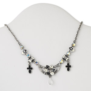 necklace, czech glass rhinestone and antiqued silver-finished steel, black and white, flower and cross, 16 inches with 2-inch extender and lobster claw clasp. sold individually.