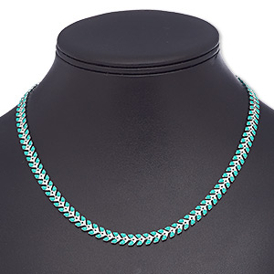 necklace, epoxy and silver-plated brass, turquoise green, 6.5mm wide with wreath design, 18 inches with 2-inch extender chain and lobster claw clasp. sold individually.
