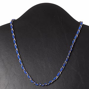 necklace, faux suede / imitation rhodium-plated steel / silver-finished brass, dark blue, 6mm wide, 18 inches with 2-inch extender chain and lobster claw clasp. sold individually.