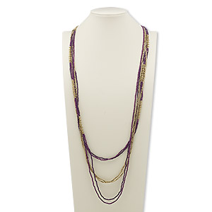 necklace, glass and gold-finished steel, light purple and dark purple, 40 inches with 2-inch extender chain and lobster claw clasp. sold individually.