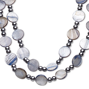 necklace, glass pearl and mother-of-pearl shell (dyed), blue-grey and grey, 20mm flat round and 8mm round, 44-inch continuous loop. sold individually.