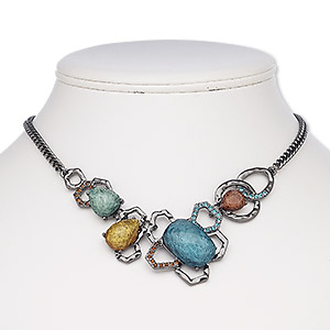 necklace, glass rhinestone / resin / black-plated steel / pewter (zinc-based alloy), multicolored, 16 inches with 2-inch extender chain and lobster claw clasp. sold individually.