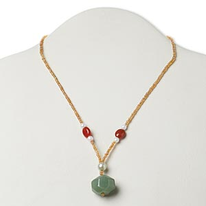 necklace, green aventurine (natural) / red agate (dyed / heated) / glass / silver- or antiqued gold-finished pewter (zinc-based alloy), multicolored, medium faceted nugget, 17 inches with lobster claw clasp. sold individually.