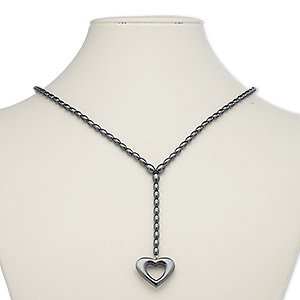 necklace, hemalyke™ (manmade) and silver-plated steel, 35x20mm open heart with 3-1/2 inch dangle, 16 inches with 1-inch extender chain and lobster claw clasp. sold individually.