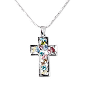 necklace, imitation rhodium-plated pewter (tin-based alloy) with czech rhinestones, multicolored, 47x25mm cross on 16-inch steel flat snake chain with 2-inch extender chain and brass lobster claw clasp. sold individually.