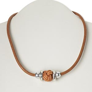 necklace, leather / silver-plated steel and pewter (zinc-based alloy), light brown, knot, 18 inches with 2-inch extender chain and lobster claw clasp. sold individually.