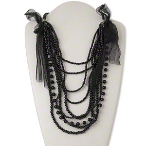 necklace, mesh ribbon / acrylic / silver-finished steel, black, round, 26-inch continuous loop. sold individually.