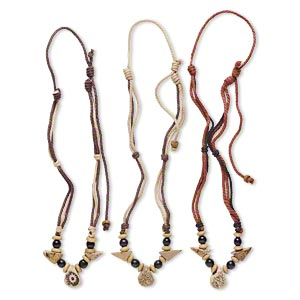 necklace mix, ceramic / wood / cotton (dyed), multicolored, 12x12mm-60x34mm multi-shape, adjustable from 16-28 inches with macrame knot. sold per pkg of 3.